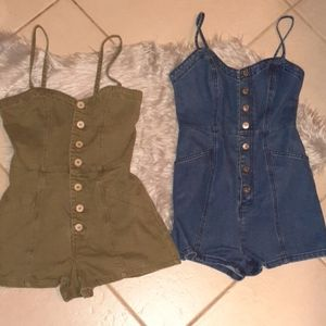 2 denim and khaki fitted overall shorts